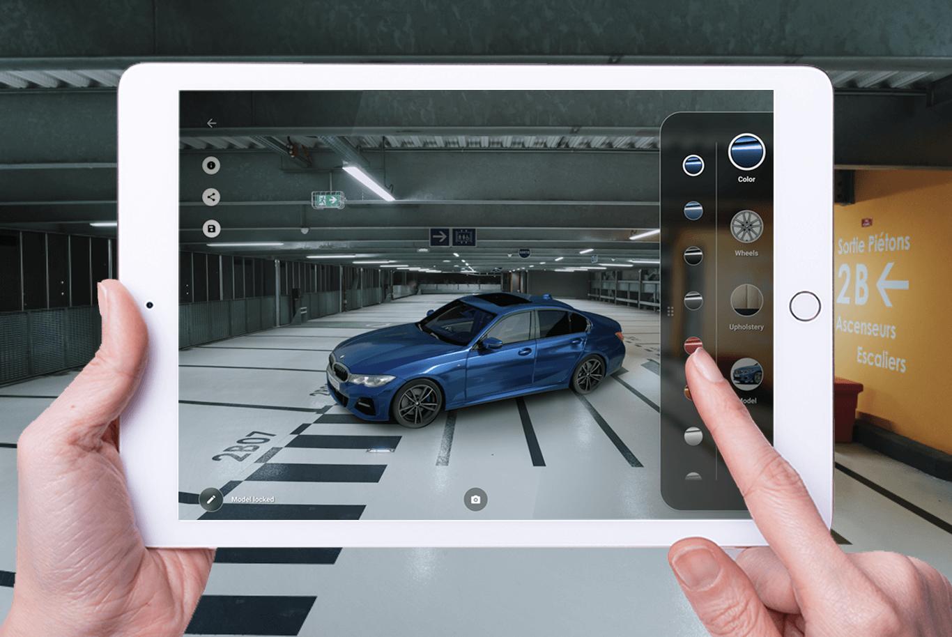 Voorbeeld AR-beleving van de nieuwe BMW 3 reeks