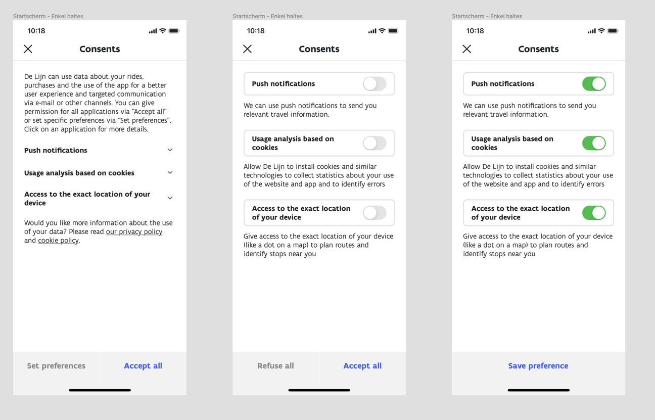UX design - privacy consent locatie app De Lijn