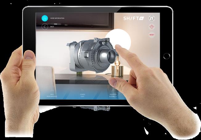 RMDY past giga tandwielkast in je hand met augmented reality